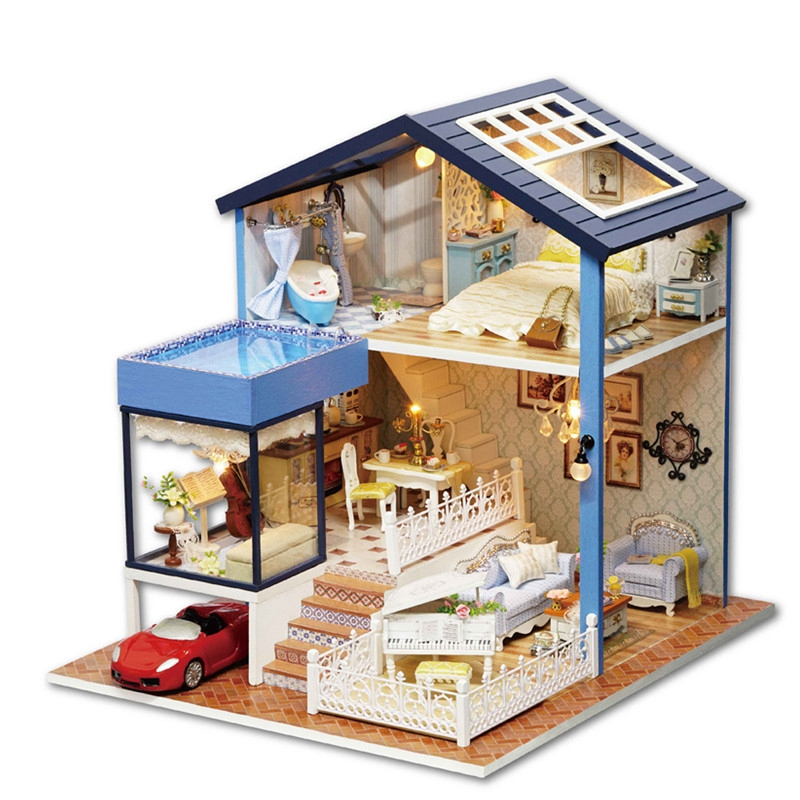 CUTE ROOM Dollhouse Miniature Wooden Doll House DIY Furniture Fidget Toys Kids Children Birthday Gift Seattle A061 Large Size цена 2017