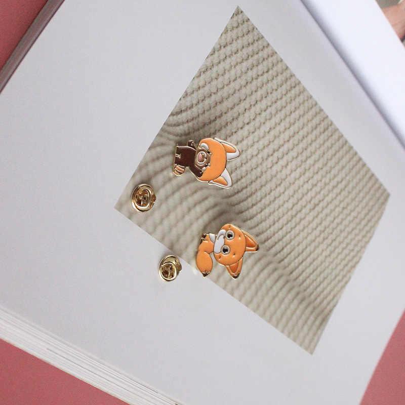 ญี่ปุ่นน่ารักสัตว์ฟ็อกซ์แรคคูนหยด yucen เด็กผู้หญิงเข็มกลัดเข็มกลัดเข็มกลัด