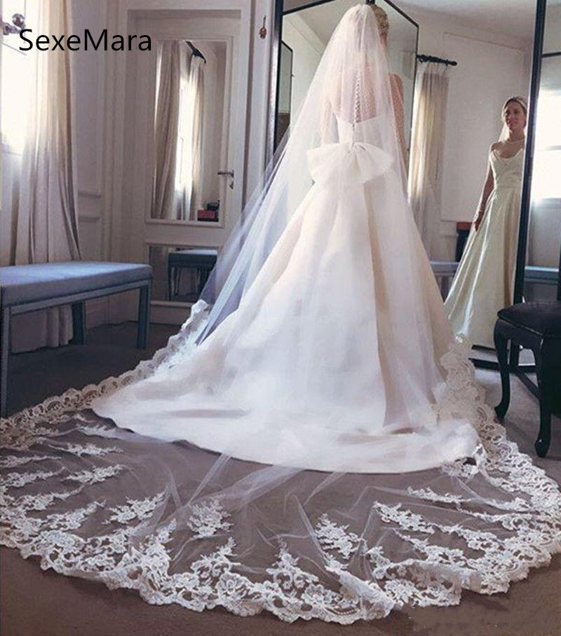 New White Customized Wedding Veil Cathedral Length Wide One Tier Soft Netting Lace Bridal Veil with Comb Custom Made