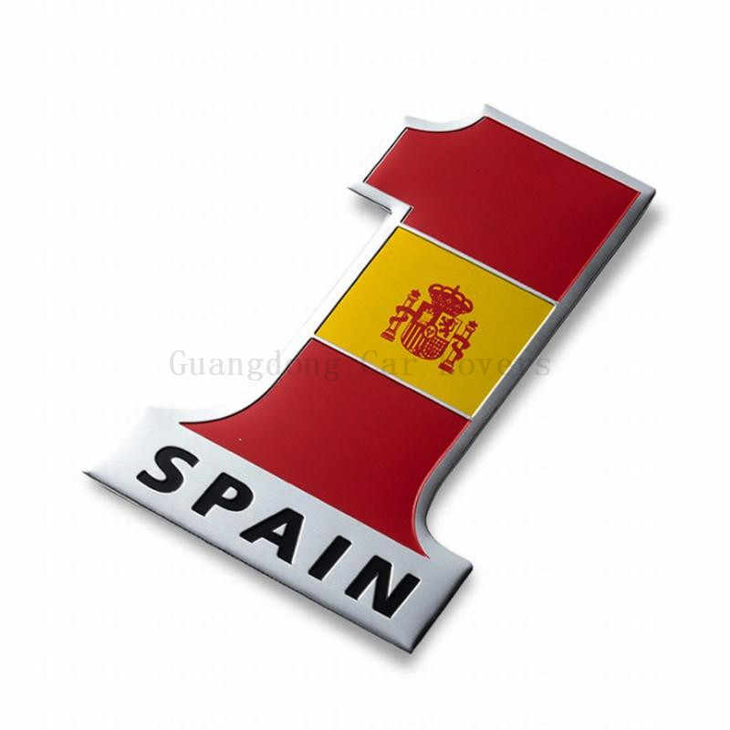 Number One Shape Styling Spain National Flag Spanish Car Stickers Automobile Motorcycle Accessories