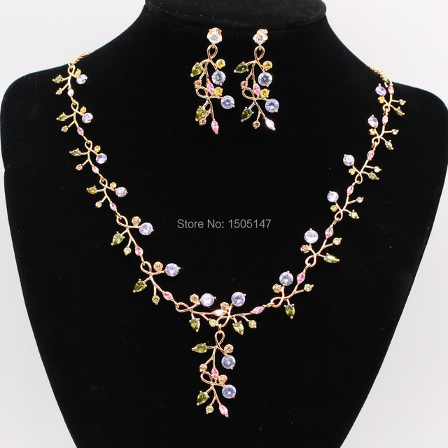 GZJY Beautiful Bridal Wedding Jewelry Sets Gold Color Colorful