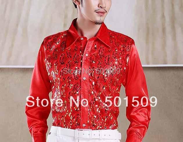 Бесплатная доставка блестки украшение мужской смокинг рубашки партия/событие рубашки