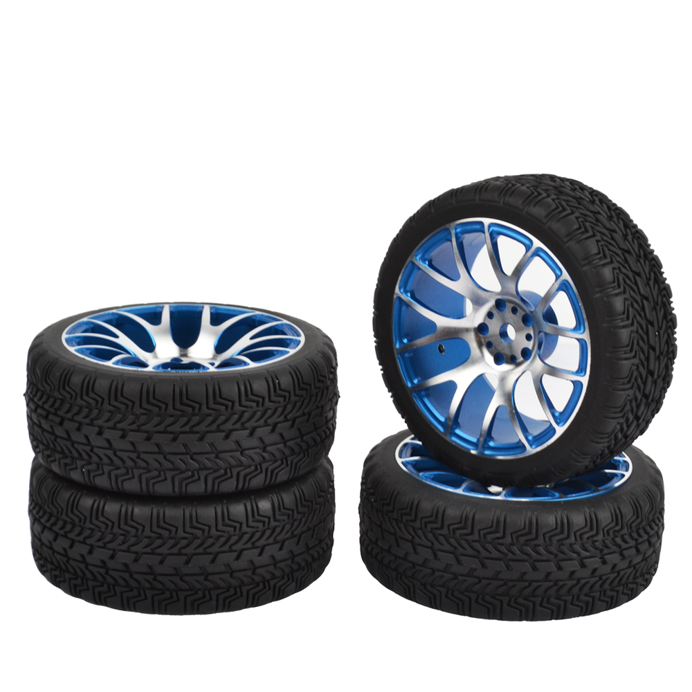 RCAIDONG 4PCS 1:10 Aluminum Alloy Wheel Rims with Rubber Tires for HPI HSP On Road Racing Car