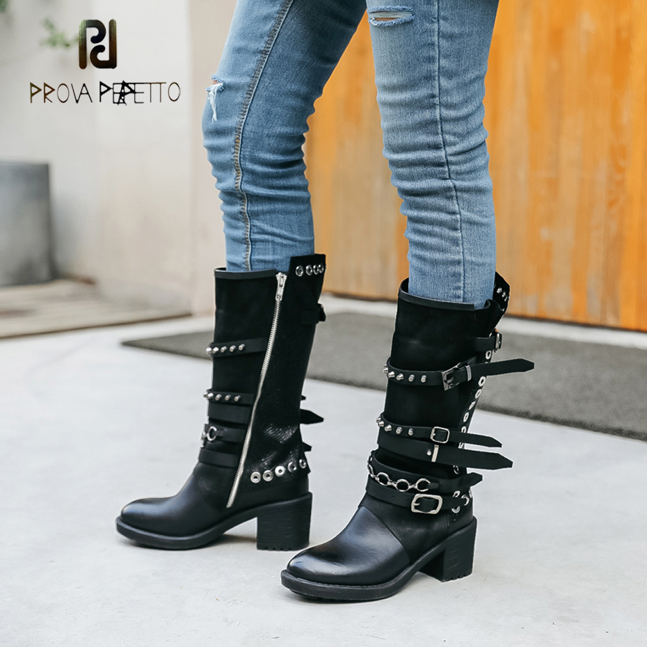 Prova Perfetto fashion genuine leather zipper side motorcycle boots rivet stud belt buckle round toe thick bottom short bootsProva Perfetto fashion genuine leather zipper side motorcycle boots rivet stud belt buckle round toe thick bottom short boots