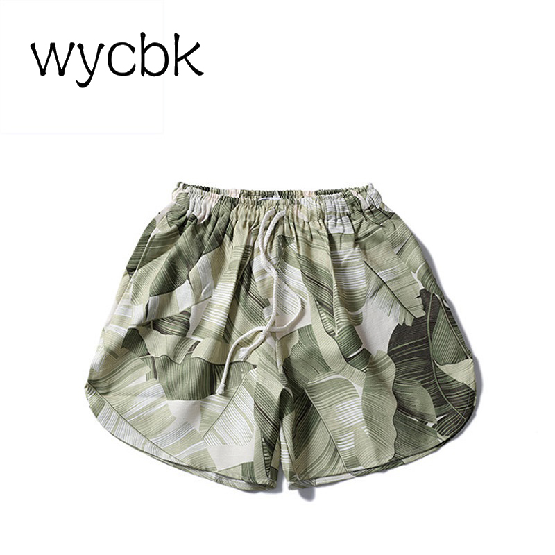 Full Printed Elastic Waist Drawstring Mens Shorts 2018 Summer Shorts Men Black Green