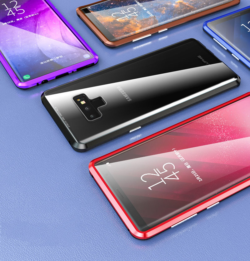Luxury 360 Double sided front+back glass Magnetic case for samsung galaxy s9 plus note 9 Aluminum metal magnet case cover coque  (6)