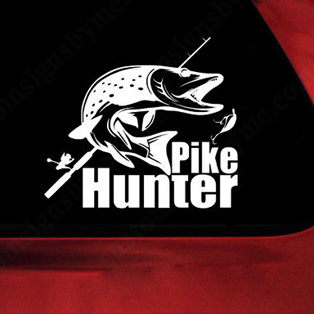 Pegatina Pike Hunter Decal Angling Tackle Shop Hollow Sticker Fish Fishing Boat Car Window Vinyl Decal Funny Poster