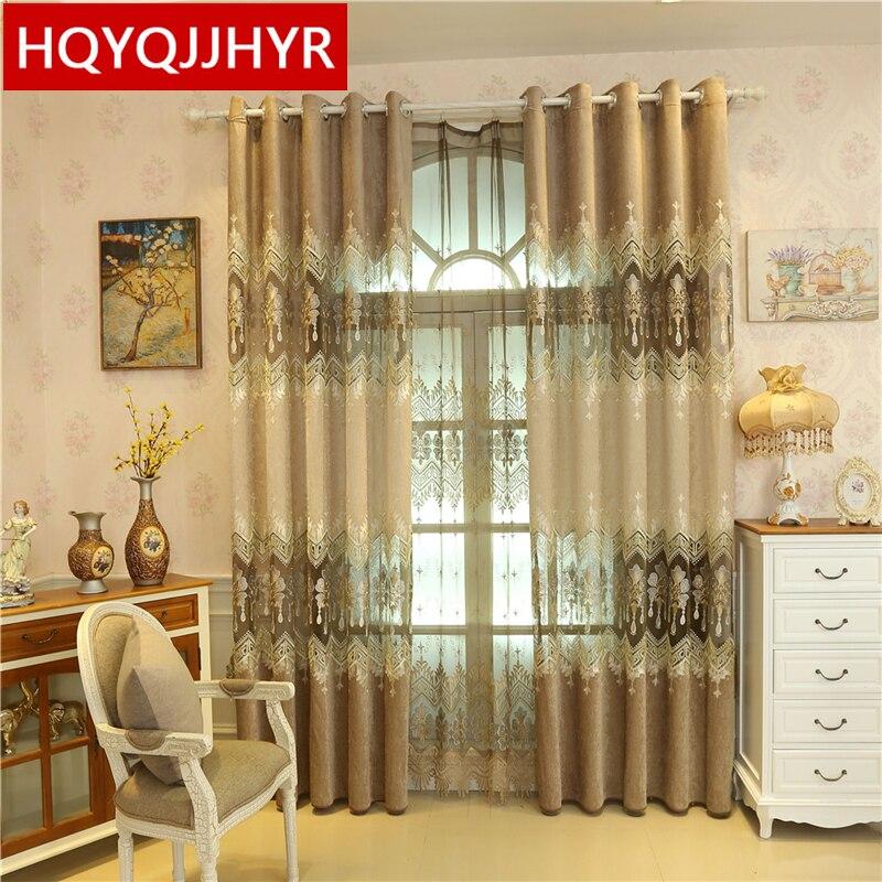 Brown europäischen klassischen Luxus-Stickerei Vorhänge für Wohnzimmer gehobene benutzerdefinierte Erker Boden Vorhänge für Schlafzimmer / Küche