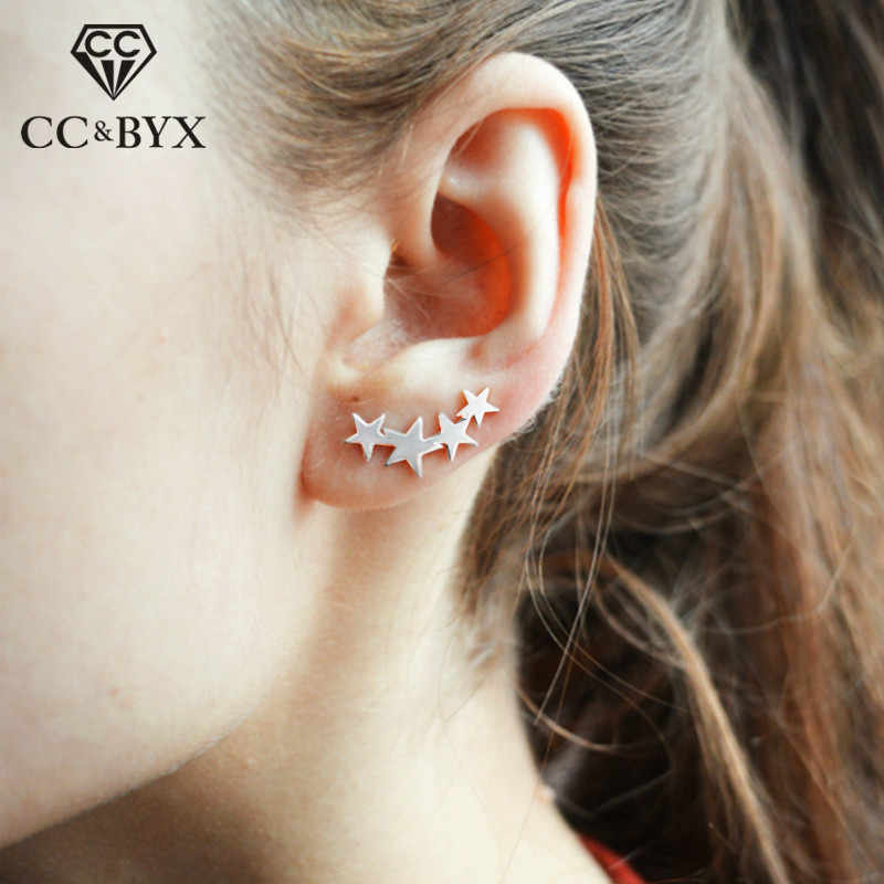 CC Pure Silver 925 Stud Earrings For Women Fashion Jewelry Stars Elegant Minimalist Office Brincos Pierced Accessory CCE532
