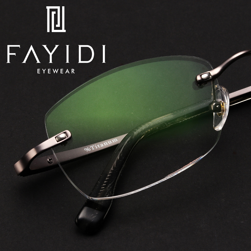 Metal Rimless Eyeglasses <font><b>Men</b></font> Myopia Optical Computer Single Vision <font><b>Progressive</b></font> <font><b>Prescription</b></font> <font><b>Glasses</b></font> Elastic Hinge #F107 image
