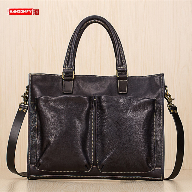 Genuine Leather Men's Handbag Portable Briefcase Men Business Laptop Shoulder Messenger Bag First Layer Leather Men's Travel Bag