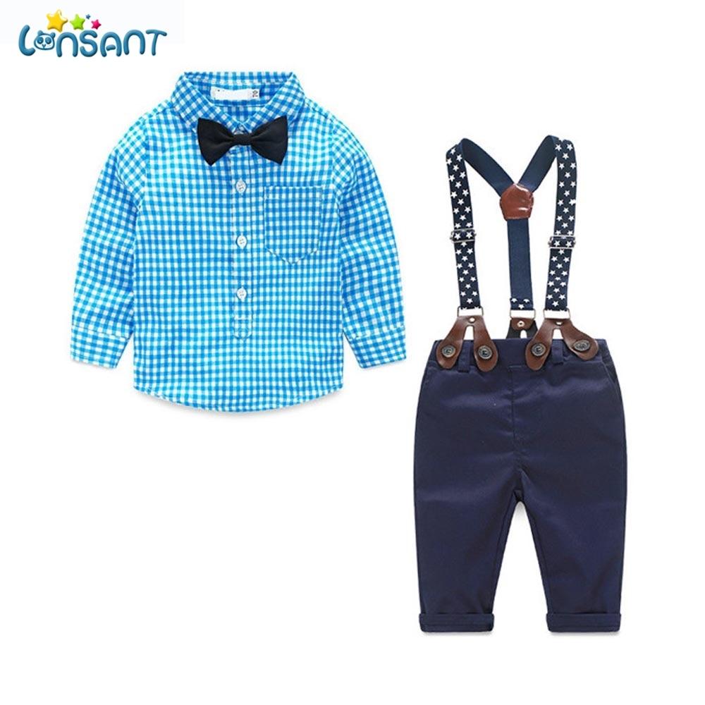 LONSANT újszülött fiú ruházat Hosszú ujjú kockás ing - Bébi ruházat