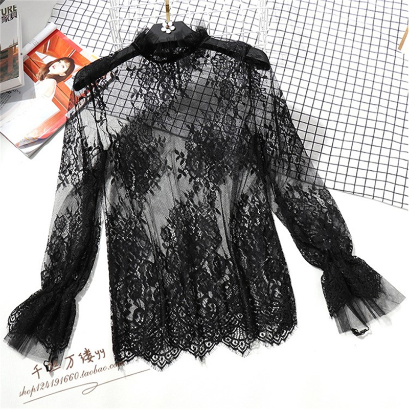 Korean Women Lace   Blouses     Shirts   Ladies Casual Sexy Elegant mesh Embroidery See-through Hollow Out Long Sleeve Base   Shirt   17
