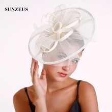 Fita de cetim flores grandes chapéus para penas de noiva fascinadores casamento festa chapéu acessórios para o cabelo tule cappelli da cerimoni sh48