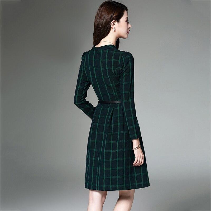 Style rouge Printemps haute Collary Vert Taille Chandail Européenne Qualité Haute Demi Robe Treillis Femme Automne Plus Mince Hiver Casual Femmes THnxgqRA
