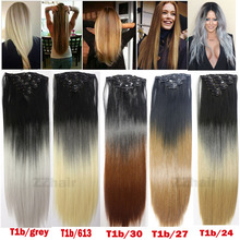 free shipping 22″(55cm) 120g ombre color  Long Straight Synthetic Hair Clip in hair extensions  7pcs set high temperature fiber