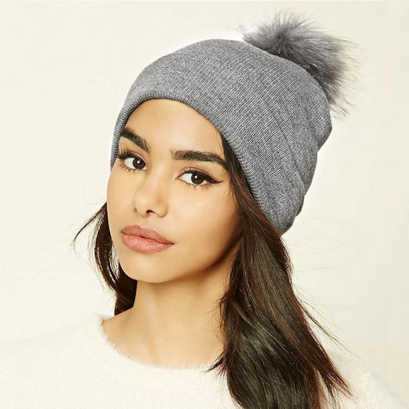 New Winter   Beanies   Women Woolen Cap Hair Ball Warm Hats Pom Poms Knitted Casual Hat Girls Caps   Skullies     Beanies   #H917