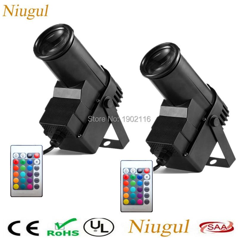 2pcs lot IR Remote Control 10W RGB LED Pinspot Spotlight Beam Stage Light Disco DJ Party