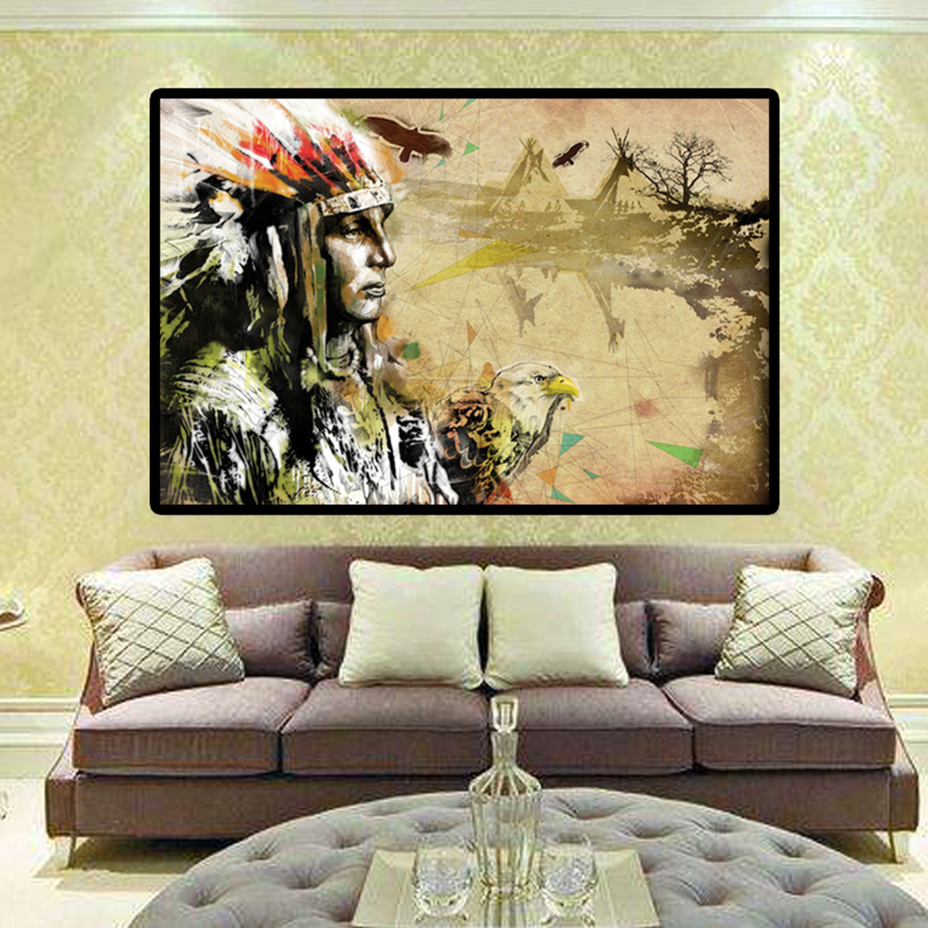 Indian Eagle Canvas Painting Poster Side Face Oil Drawing No Frame ...