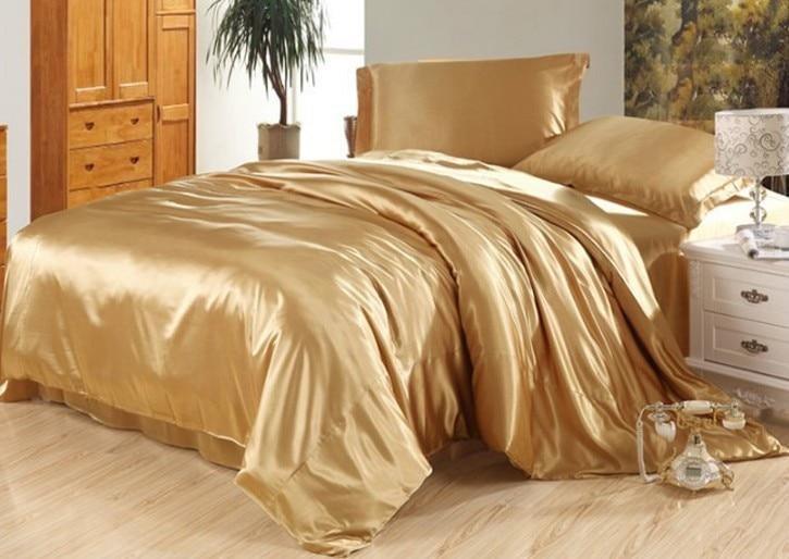 7 pcs de luxe chameau bronzage soie ensemble de literie satin feuilles super roi reine pleine for Ensemble de literie