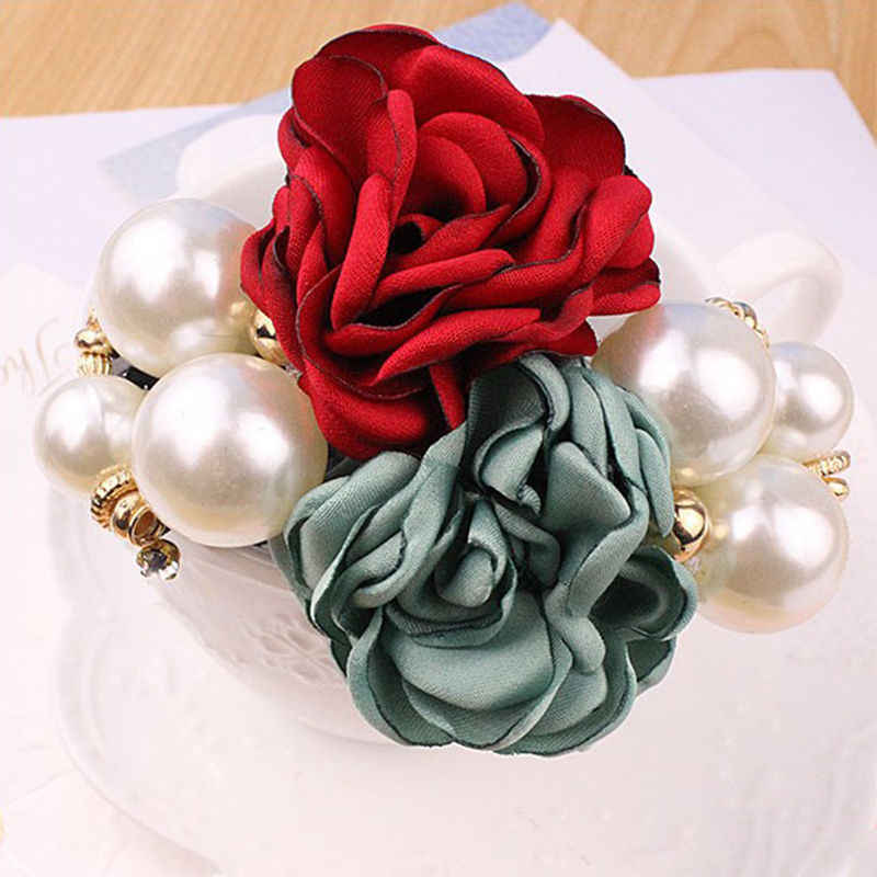 Fashion Pearl Flower Hair Bands Satin Big Rose Three Pearls Decor Elastic Hairbands Ponytail Headband for Women & Girls