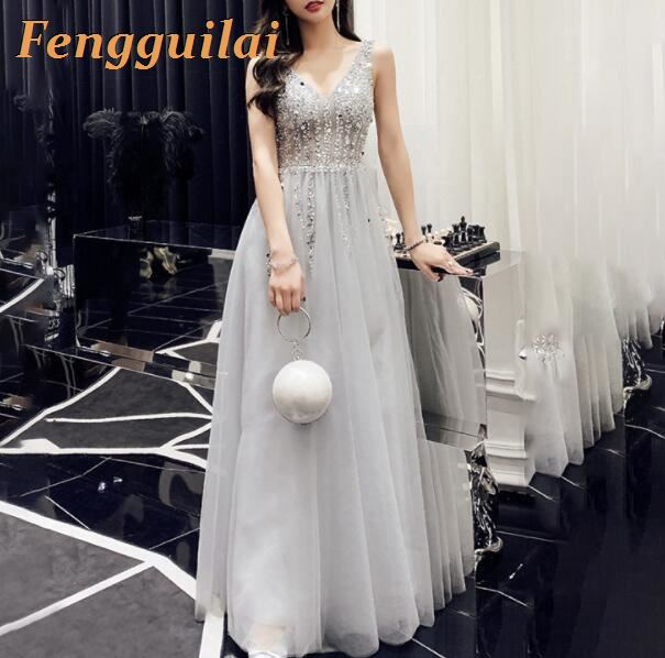 FENGGUILAI 2019 Autumn offer shoulder women lace long dress high quality
