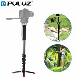 PULUZ For Camera Accessories Four-Section Telescoping Aluminum-magnesium Alloy Self-Standing Monopod with Support Base Bracket