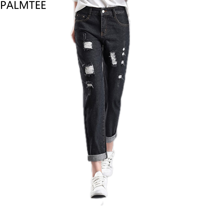 PLAMTEE Ripped Jeans For Women Cuffs Denim Harem Pants Female High Waist Skinny Jean Trousers Hole Boyfriend Pantalon Femme 2017 2017 new fashion pencil pants hole jeans woman skinny ripped jeans for women vaqueros mujer boyfriend jean denim pants pantalon