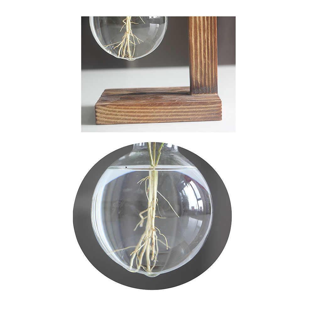 北欧シンプルな水耕植物花瓶ヴィンテージフラワーポット透明花瓶木製フレームガラス卓上植物ホーム盆栽インテリア