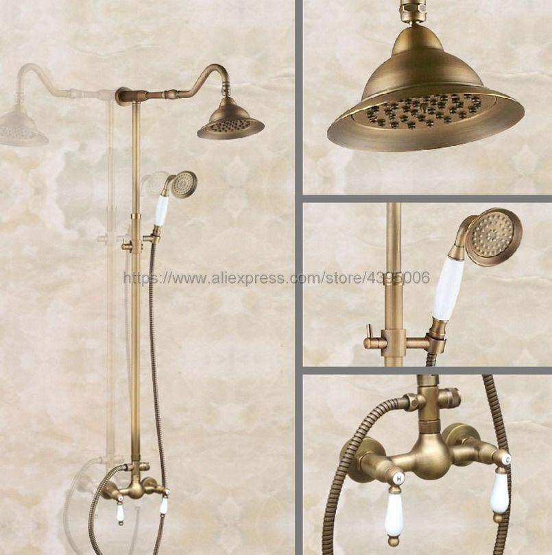 Antique Brass Wall Mount Shower Set Faucet Double Handle with Handshower Bathroom Shower Mixer Tap Ban520 все цены