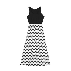 Striped Parent-child Dresses Casual Sleeveless Mini O-Neck Dress Simple Elegant Mother And Daughter Dresses 5