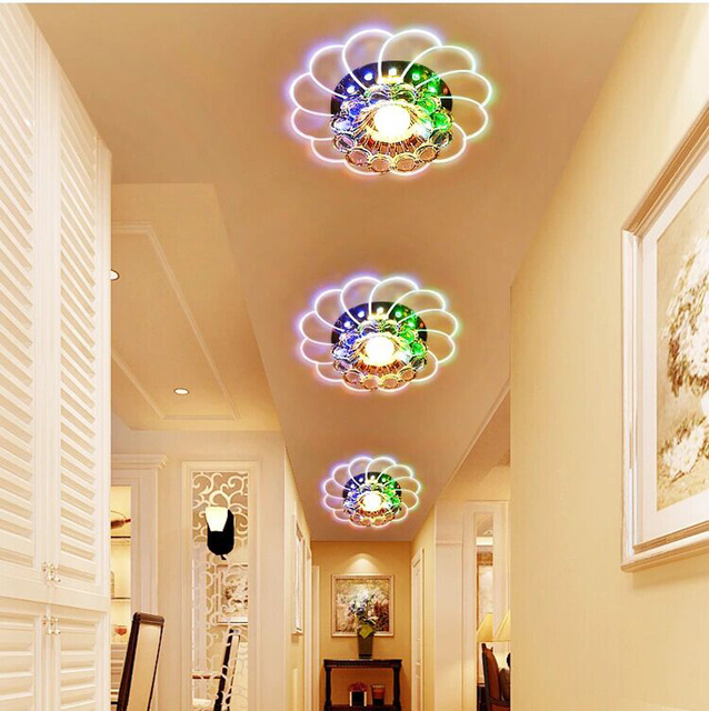 Lampshade Crystal Ceiling Light 3W/5W Bedroom/foyer Ceiling Light Round Led  Home Decoration