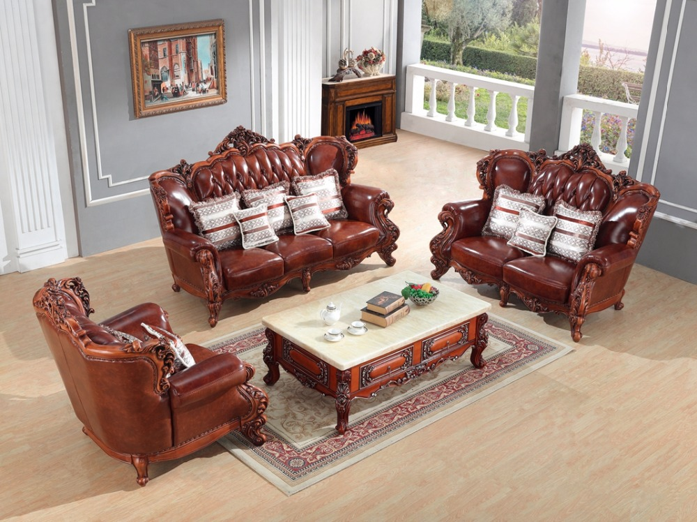 Luxury European Leather Sofa Set Living Room Sofa China Wooden Frame  Sectional Sofa 1+2