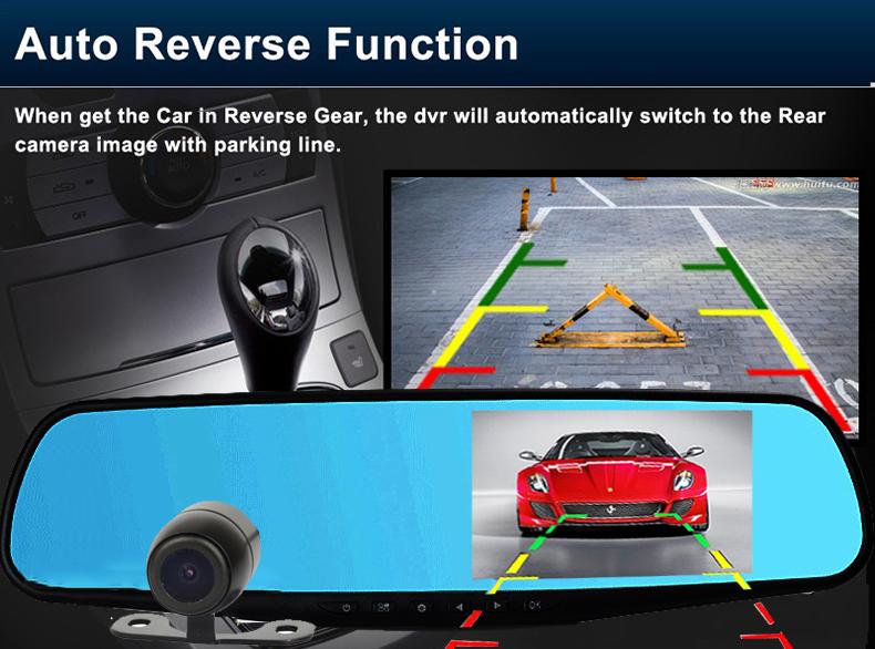 E-ACE Car Dvr 1080P Dual Lens Dash Camera Rear Mirror Digital Recorder With Rearview Camera Video Recorder Camcorder Registrar 11