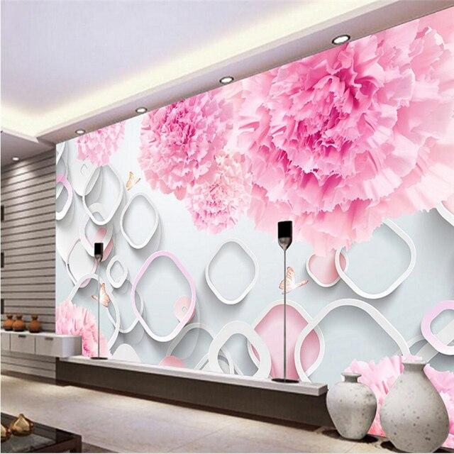 beibehang benutzerdefinierte fotowand papier 3d mural fantasie blumen 3d kreis tv hintergrund. Black Bedroom Furniture Sets. Home Design Ideas