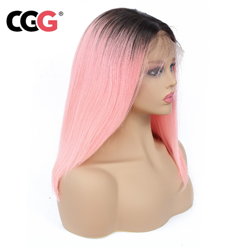 Humble Cgg 1b /pink Lace Wig Ombre Lace Front Wig 13*4 Pre Plucked Peruvian Straight Hair Remy Short Bob Wigs 1b/ Blue/99j Gray Wig To Make One Feel At Ease And Energetic