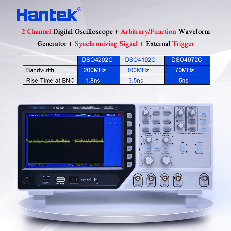 Hantek 2 CH Digital oscilloscope 70-200MHz 1GS/s,1 channel Arbitrary/Function Waveform Generator 7 TFT color display DSO4000C image