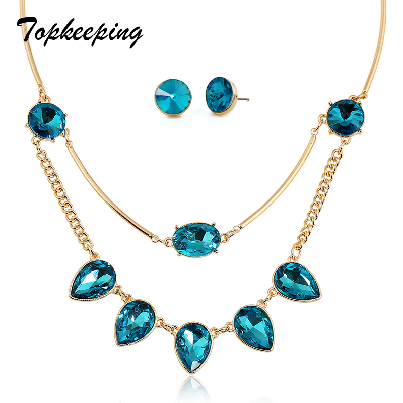 Jewelry Necklace Earrings Rhinestone Girls Fashion 2PCS Women Lovers' Multilayer Anniversary-Gifts