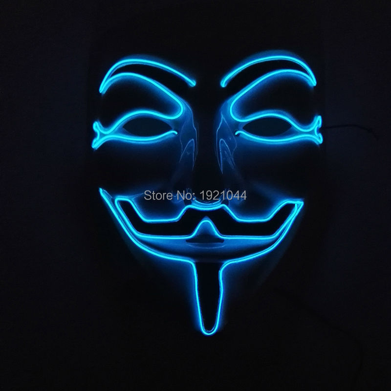10 Color Option 2017 New Hot Sale Flashing Color V for VENDETTA Mask El Wire Led Glowing Dj Mask Cosplay Fawkes Halloween Mask