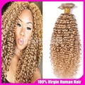 Brazilian Blonde Curly Hair Extensions Honey Blonde Remy Human Hair Weave 3PCS Color 27 Kinky Curly Blonde Virgin Hair Bundles