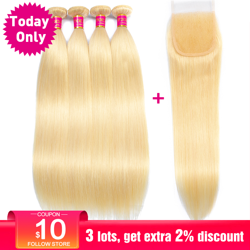 TODAY ONLY Brazilian Straight Hair Bundles With Closure Blonde 3 4 Bundles With Closure 613 Human