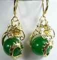 Fancy 12mm green jade dragon 18KGP earrings 5.29 -Top quality free shipping