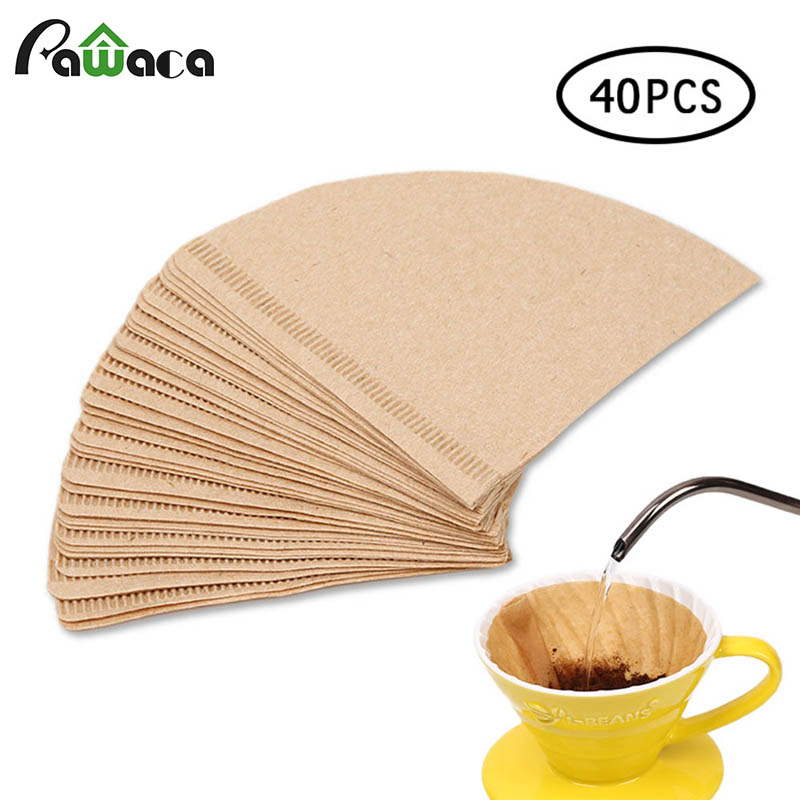 Us 329 30 Off40pcsbag Cone Shape Coffee Filter Papers Wooden Original Hand Drip Paper Coffee Filter Espresso Coffee Filters Tea Coffee Tools In