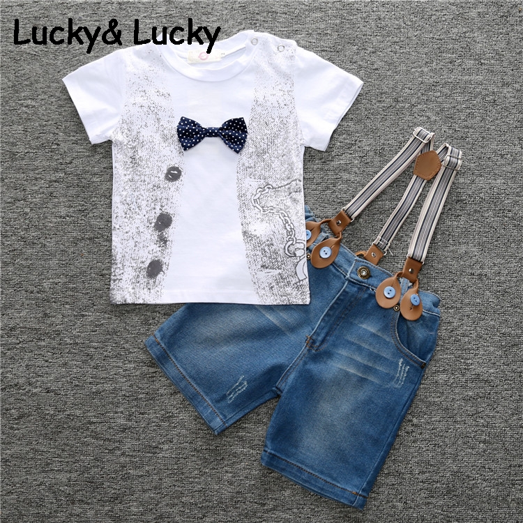 Boys clothes short sleeve kids clothes cotton children clothing cotton baby clothes with bow t-shirt and demine overalls cotton bull and letters print round neck short sleeve t shirt