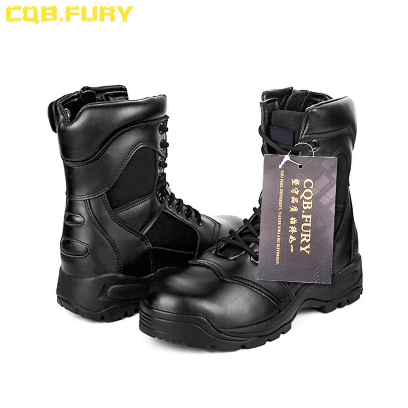 CQB FURY Genuine leather autumn military special forces tactical boots Cow leather black combat army ankle