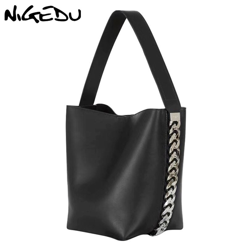 NIGEDU Large Women Handbag Luxury Designer Shoulder Bag For Female Big Chain Bucket Bag PU Leather Versatile Lady Totes Black
