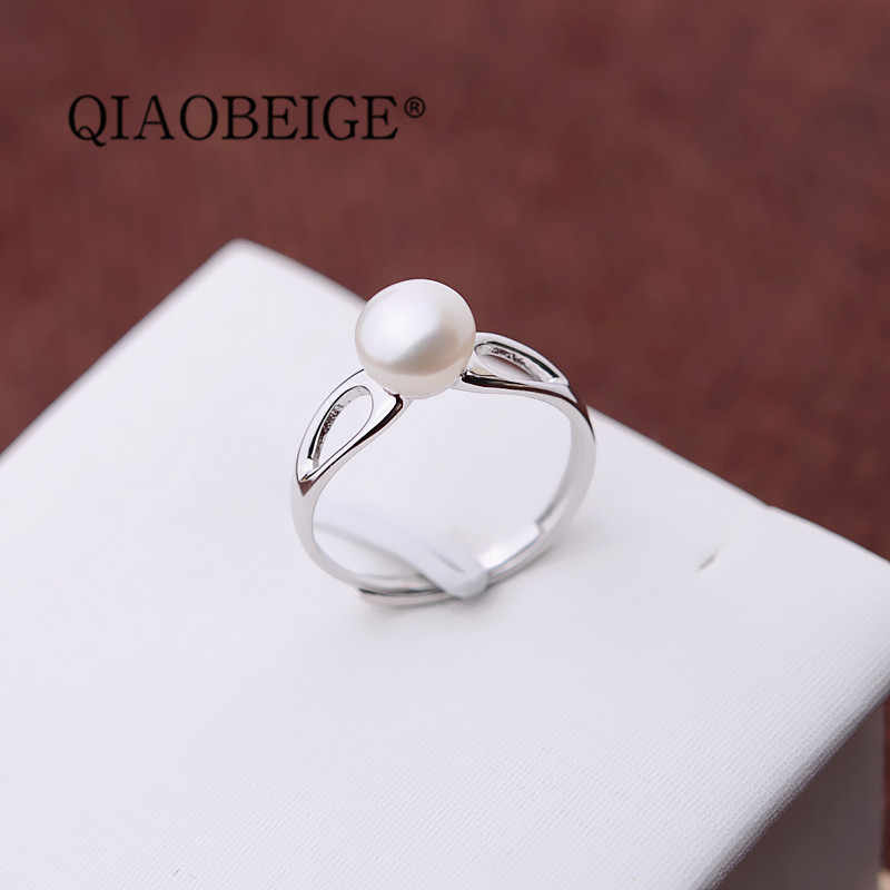 QIAOBEIGE Wholesale 925 Silver Pearl Ring Mountings DIY Accessories Ring Settings simple style Semi Pearl Ring Mountings For DIY