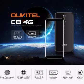 "Oukitel C8 4G LTE 5.5"" 18:9 Display Smartphone Android 7.0 3000mAh 2GB RAM 16GB MTK6737 Quad Core Fingerprint 13MP Cellphone"