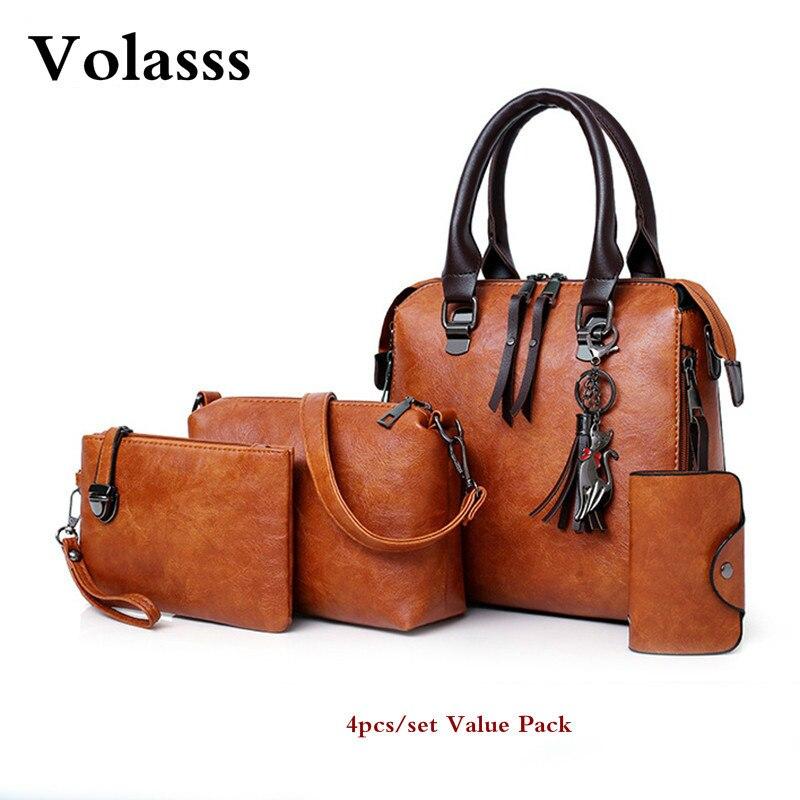 Mode sacs à main femmes bandoulière sacs pour femme PU cuir épaule Messenger sacs femmes fourre-tout sac à main 4 pièces ensemble Bolsos Mujer