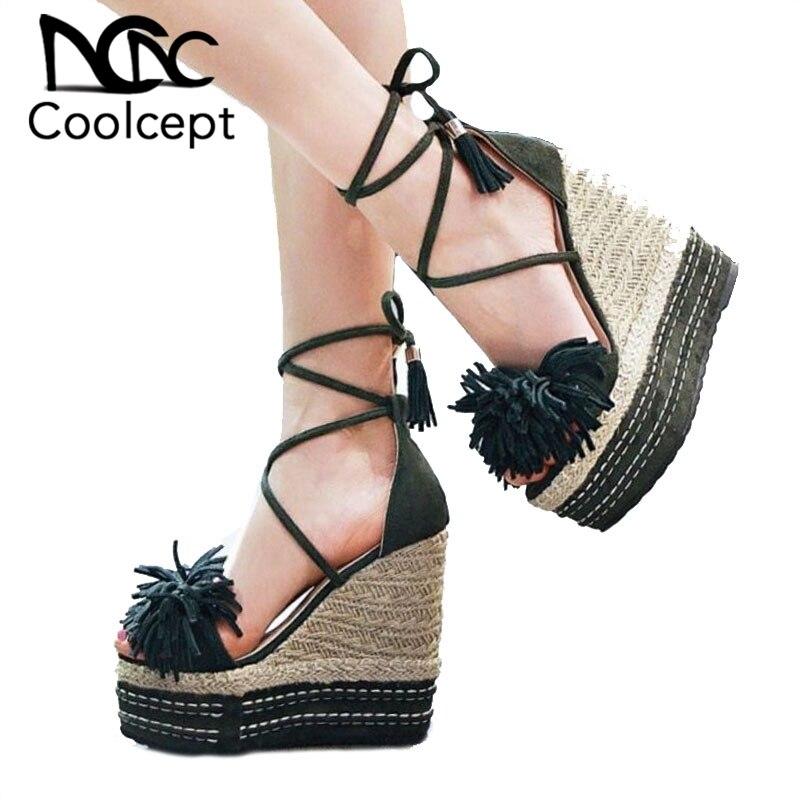 Coolcept Dropshipp Women Wedges Sandals Solid Color Tassels High Heels Shoes Platform Lace Up Summer Women Footwear Size 33 39